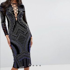 Asos beaded embroidered dress black and blue